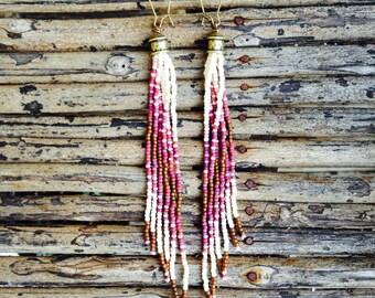 Amethyste Colored Earrings, Long Beaded Earrings, Beaded Jewelry, Seed Bead Earrings