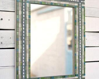 CLEARANCE, Decorative Mirror, Mosaic Wall Mirror, Ceramic Mosaic Mirror Frame, Aerial Views