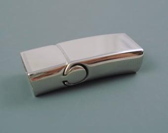 Stainless Steel Magnetic Flat Clasp,  Large Interlocking Clasp, 32mm Long 6mm x 12mm Inner Diameter (FLATSS61232)