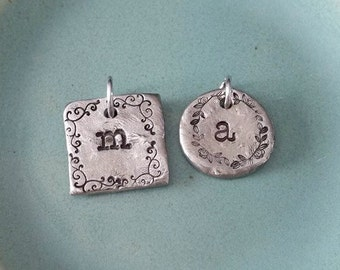 Hand Stamped Jewelry-Personalized pendant-Add on initial pendant for ONE disc