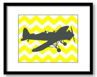 Airplane Chevron Boys Art Print Nursery Art Yellow Grey Gray Nursery Print Child Baby Art Print Boys Kids Room Wall Art Nursery Decor