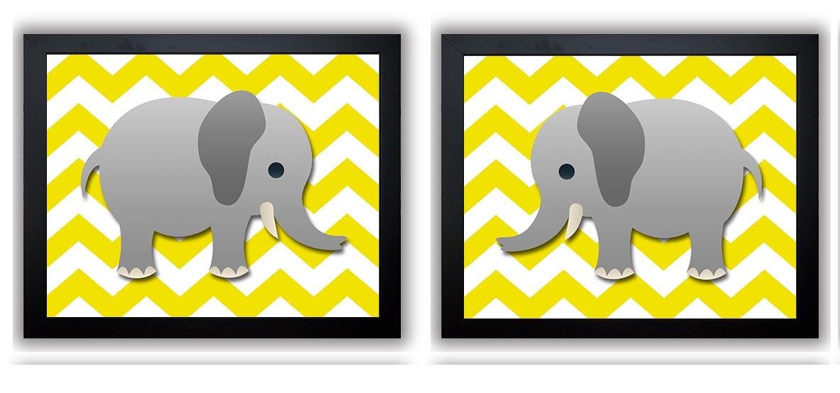 Yellow Grey Chevron Gray Elephant Nursery Art Nursery Print Set of 2 Elephants Child Art Prints Kids