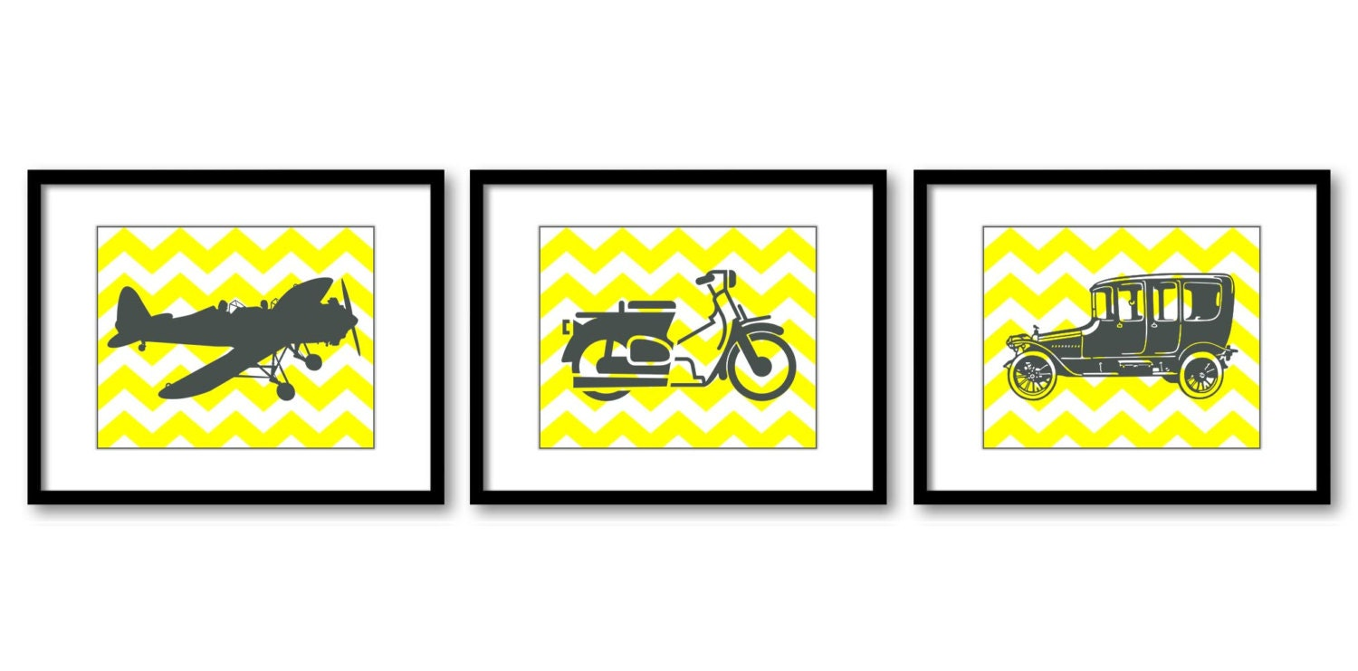 Antique Old Vintage Transportation Set of 3 Prints Yellow Grey Airplane Motorcycle Car Boys Art Nurs