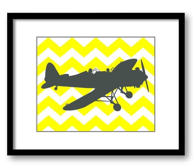Airplane Chevron Boys Art Print Nursery Art Yellow Grey Gray Nursery Print Child Baby Art Print Boys