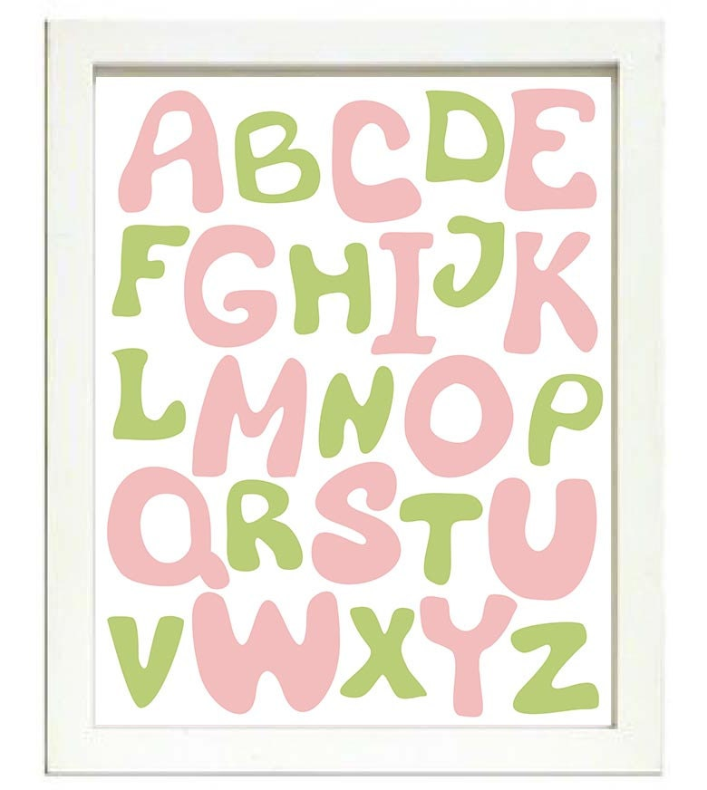 Pink Green Alphabet Kids Room Nursery Art ABC Letters Nursery Print Child Baby Art Print Pink Kids R