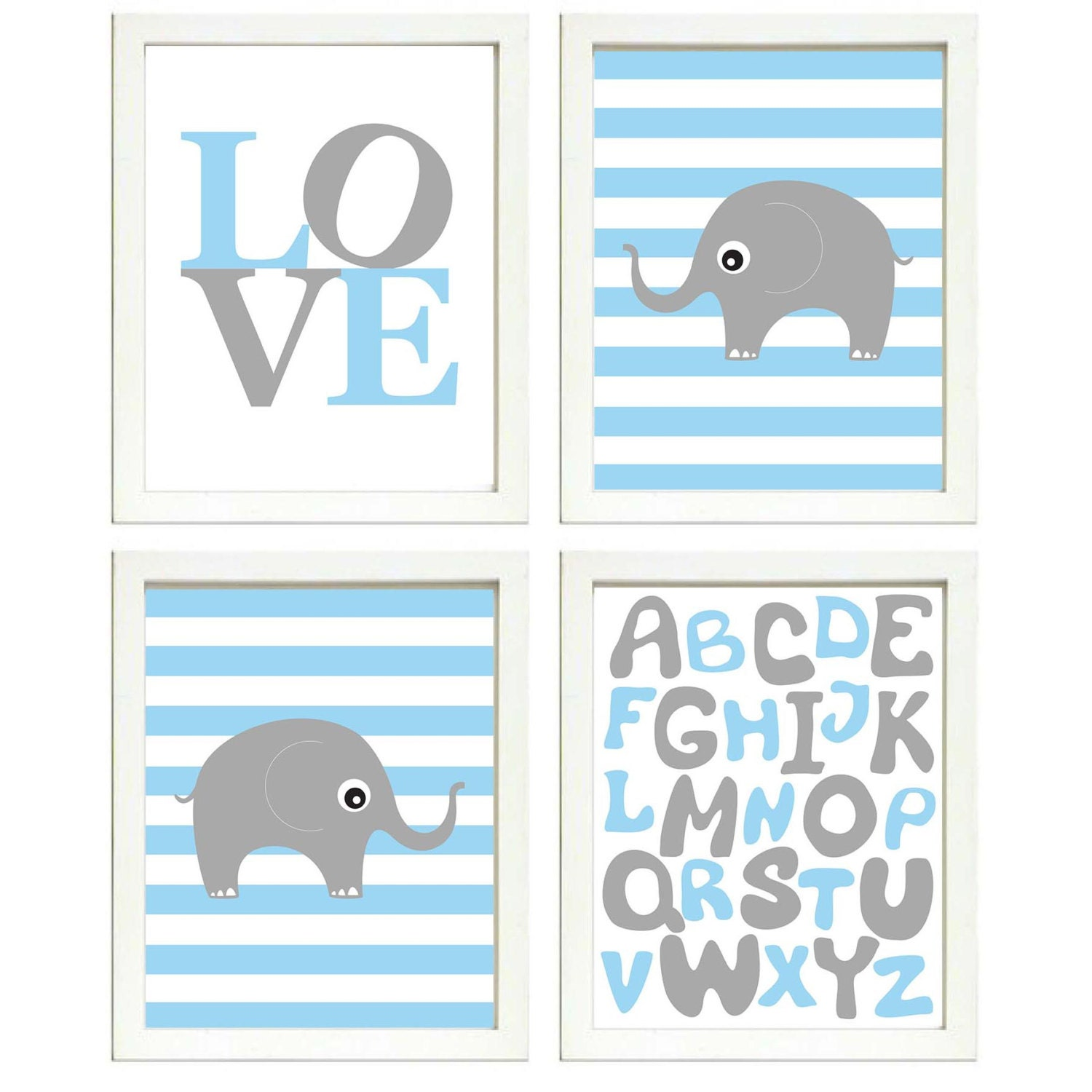 Elephant Nursery Art Set of 4 Prints Grey Blue Stripes LOVE Alphabet ABC Child Kids Boy Room Wall De