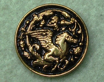 "Czech Glass Button 12""= 27mm handpainted - pegasus, black, gold (B27182)"