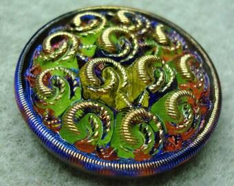 Czech Glass Button 32mm - hand painted - green, blue, orange, gold (B32140)