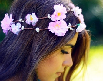 THE LULU Pink Flower Crown Bridesmaid  Hippie Gypsy  Woodland Halo Floral Style Headband Hair Jewelry Head Band Circlet Christmas Crown