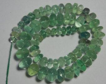 "15"" strand of green fluorite beads"