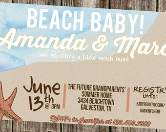 Baby Shower Invitation: Beach Watercolor & Sand