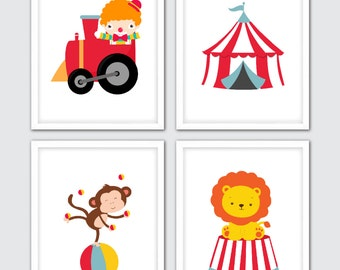 Circus Art for Kids, Circus Wall Art, Circus Nursery Art, Circus Art Prints, Circus Nursery Decor, Circus Baby Nursery, Vintage Circus Art
