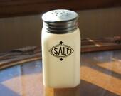 Vintage Hazel Atlas Milk Glass Salt Shaker part of Range Set with original lid