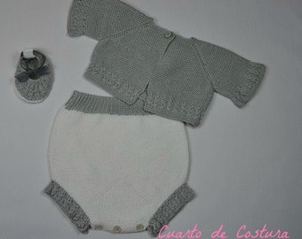 Three-piece set pattern, jacket, covers and booties, made in Pearl for newborn