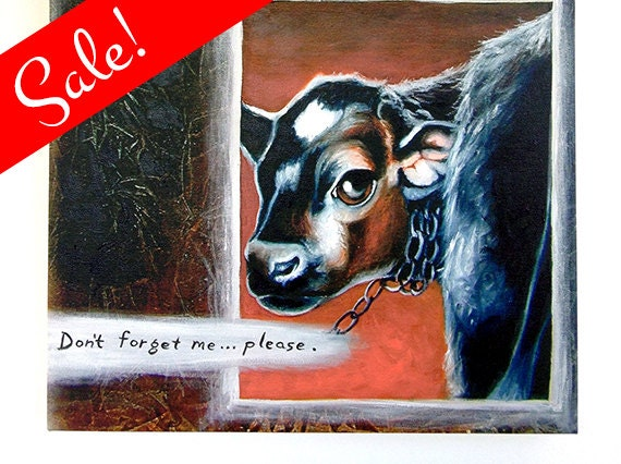 "Hand Embellished Canvas Print - ""Don't Forget Me"" - Animal Rights Art."