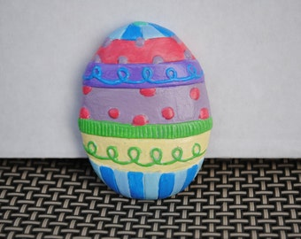 Hand Painted Ceramic Colorful Egg Magnet