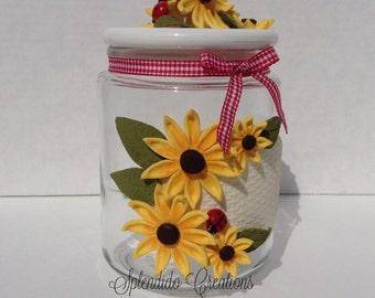 Handmade Sunflower Cookie Jar