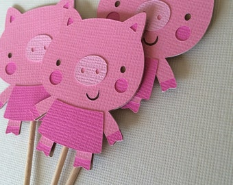12 Pig cupcake toppers, Farm/Pig Theme Party