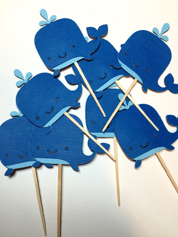 Whale cupcake toppers, Nautical Theme Party