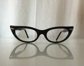VINTAGE 1950's New Old Stock Poriss Frame France Cute Black Cat Eye Glasses Frames
