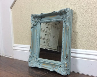 MIRROR, Wood Framed Mirror, Blue Mirror, OrnateMirror, Wall Mirror, Nursery Decor, Antiqued Mirror, Home And Living, Pretty Mirror