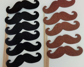 Best photo booth props mustaches on a stick 6 black 6 Brown Glitter Foamy mustaches FREE SHIPPING