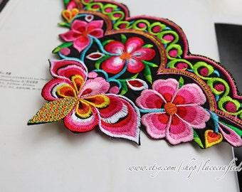 2pcs Colourful Flower Lace Applique, nation Embroidery Floral leaf  end piece,Iron on Applique Patch For Dress Clothes
