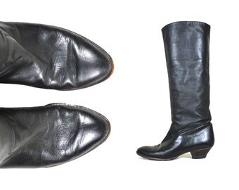 80s Black Leather KNEE HIGH Boots Women's 7 8 / Tall Stacked Heel Wedge Riding Boots