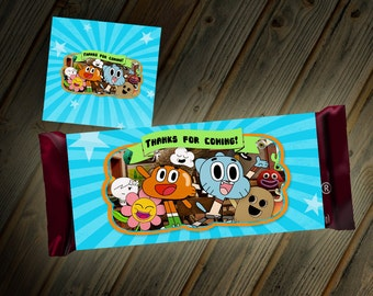 The Amazing World of Gumball Candy Bar Wrapper Thank You Party Favor Goodie Bag Custom Digital File