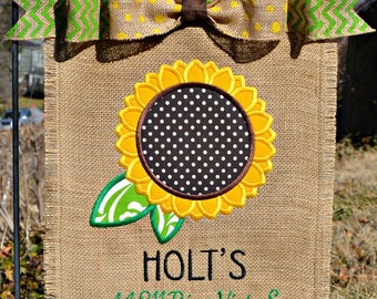 Custom Monogrammed Welcome Sunflower Burlap Garden Flag Personalized with Name