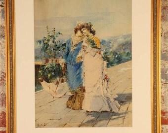 """Enrico Gamba (1831-83) Ladies on the Promenade""""Beautiful Original Painting-NICE!"""
