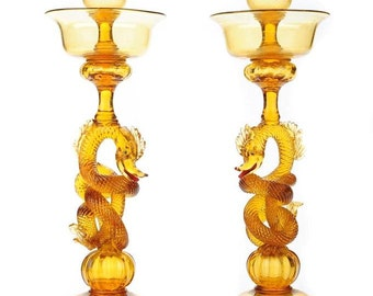 Murano Seguso Pair of Sophisticated Luxury Candle Holders w/Dragon Motif-WOW!