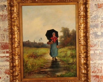 Country Girl walking in a rainy day-Equisite 19th century oil Painting-Signed