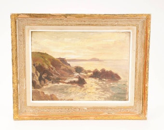 Edmond Quinton (1892-1969) Beautiful 1926 Costal Seascape Oil Painting-NICE!!