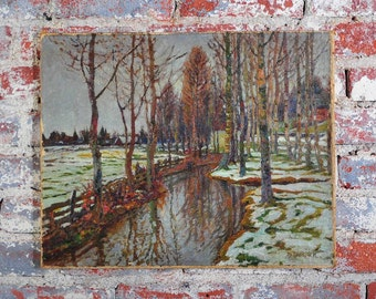 Russian Winter scene -Original Oil Painting on canvas -Signed.