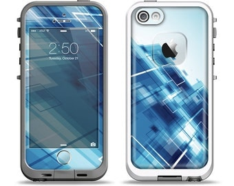 The Blue Transending Squares Apple iPhone LifeProof Case Skin Set