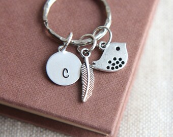 Bird Keychain, Bird Keyring, Hand Stamped Keyring, Monogram Keychain, Personalized Initial Keychain, Feather Keychain, Feather Keychain