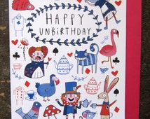 Happy Unbirthday - Alice inspired - A6 Greeting Card