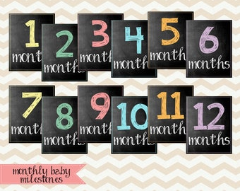 Baby Monthly Chalkboard / Baby's First Year / Printable Monthly Photo Prop / 8x10 DIGITAL Milestone Signs / Set of 12