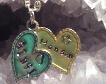 Personalized Metal Stamped Heart Necklace