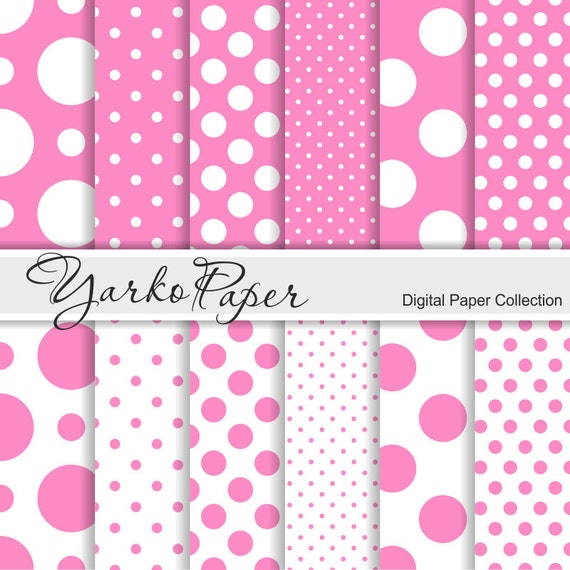 Pink And White Polka Dot Digital Paper Pack Scrapbook Paper