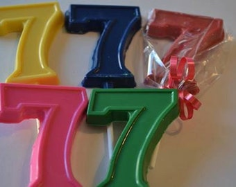 "Chocolate Number Seven ""7"" Lollipops for 7th birthdays"