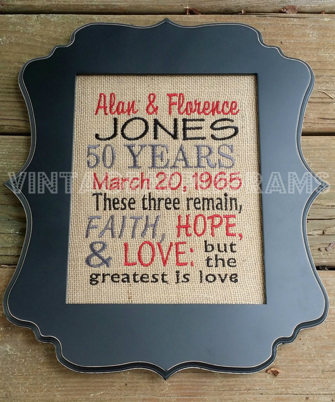 Fiftieth wedding anniversary gift signs embroidered burlap