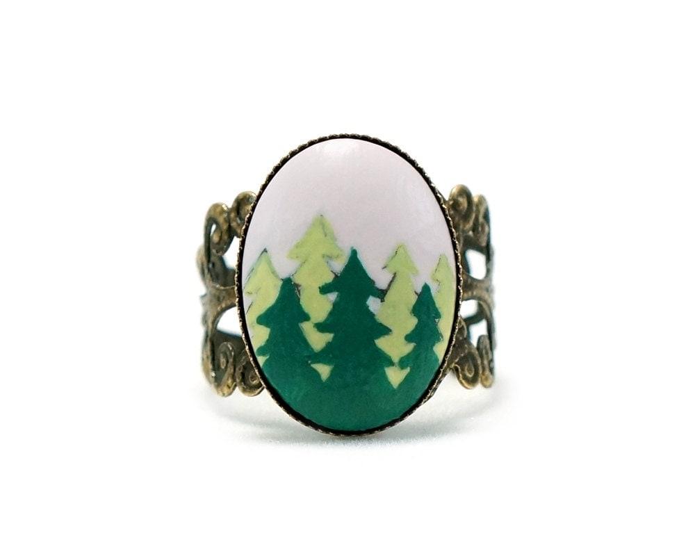 tree ring evergreen tree ring pine tree ring tree jewelry