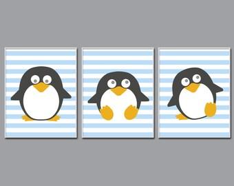 Penguin Nursery Art Print, Baby Boy Nursery Art, Blue Nursery Art, Baby Boy Nursery Wall Art Print and Bedroom Decor N411,412,413