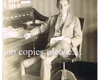 Unused Vintage Postcard of Working Dude
