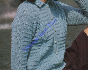 DK 8ply LIGHT Worsted Collared Cardigan / Lumber Jacket  / Sweater 32- 40 ins - PDF  of Vintage Ladies Knitting Patterns