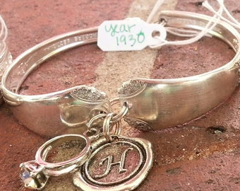 Vintage 1930's Silver Plated Spoon Bracelet. Personalize With 2 Charms.Charm Bracelet, Spoon jewelry,Keepsake,Unique gift,Silver Bracelet