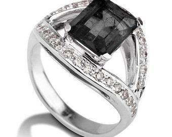 Art Deco Engagement Ring, Black Diamond Ring, 14K White Gold Ring, 1.5 TCW Black Diamond Band, Black Diamond Engagement Ring