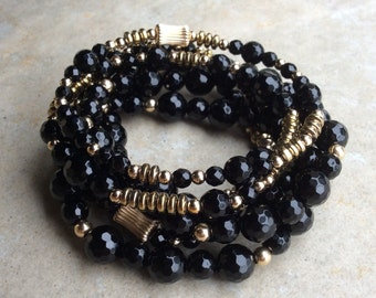 Black onyx statement stretchy bracelet set of 7